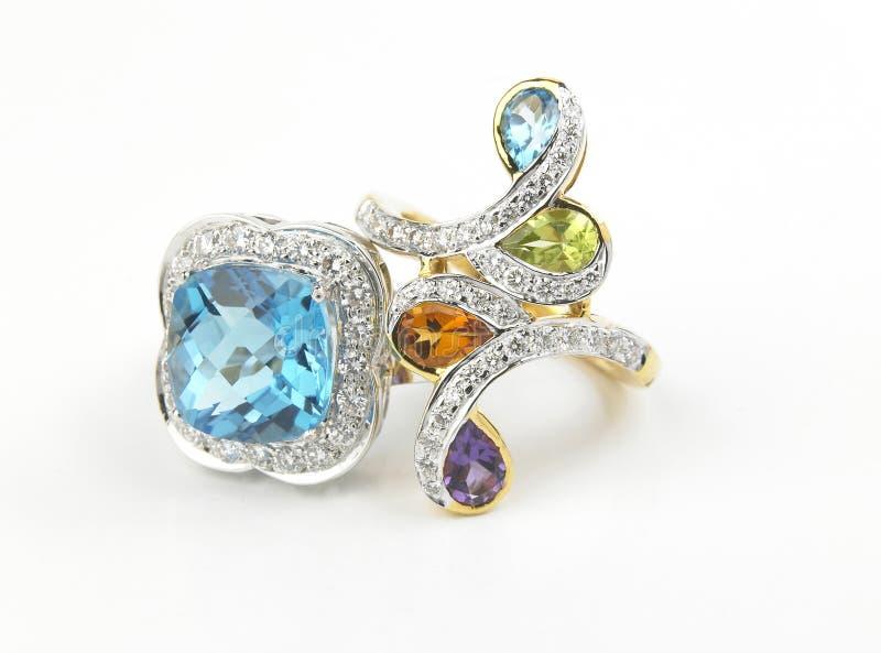 Gems finger rings stock photos