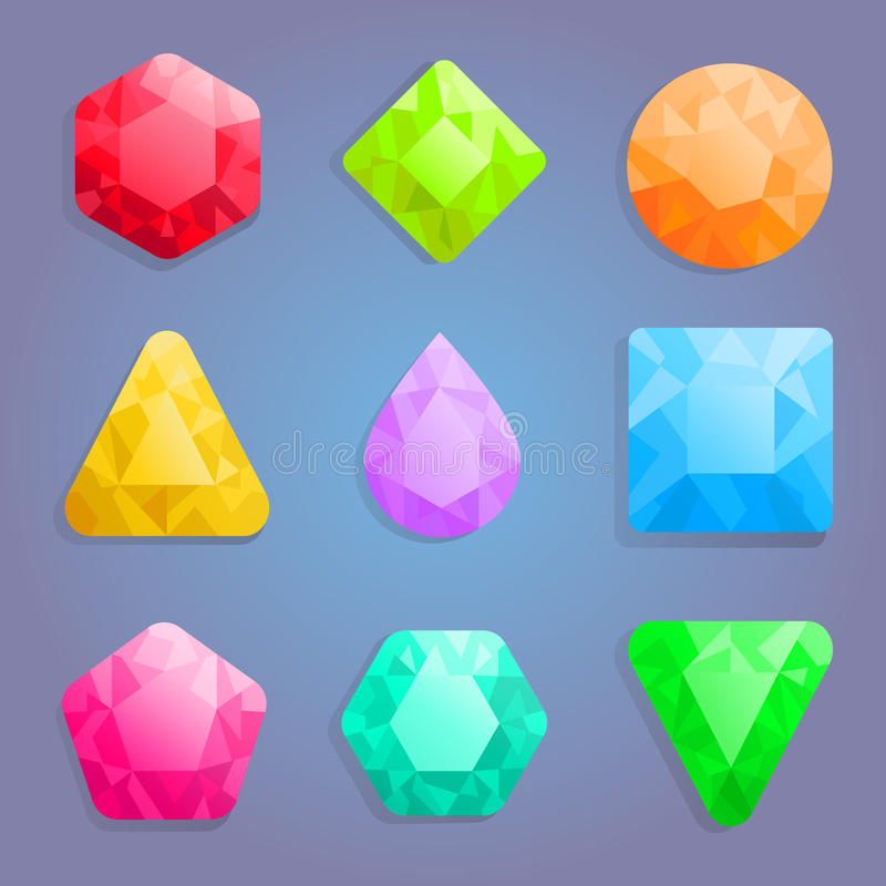 Gems icons set. vector illustration