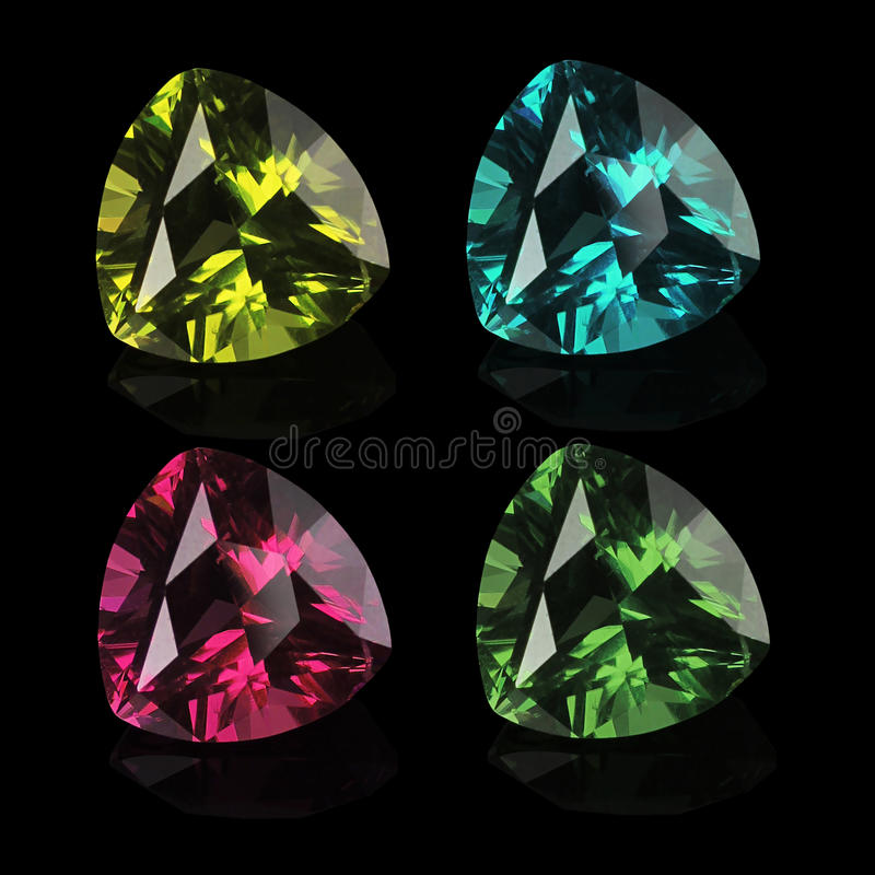 Gems isolated on a black background stock photo