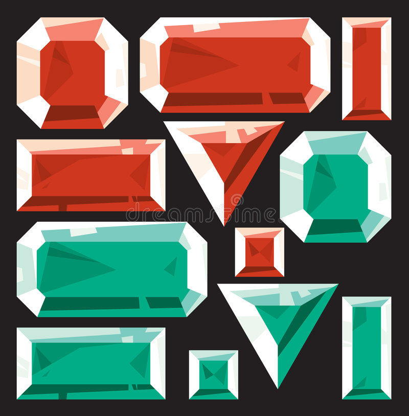 Gems of ruby and emerald. Vector illustration stock illustration