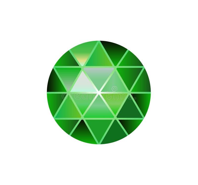 Gemsteen, ronde diamanten op wit Veelhoekige vectorbal Groene Kleurengradiënt vector illustratie