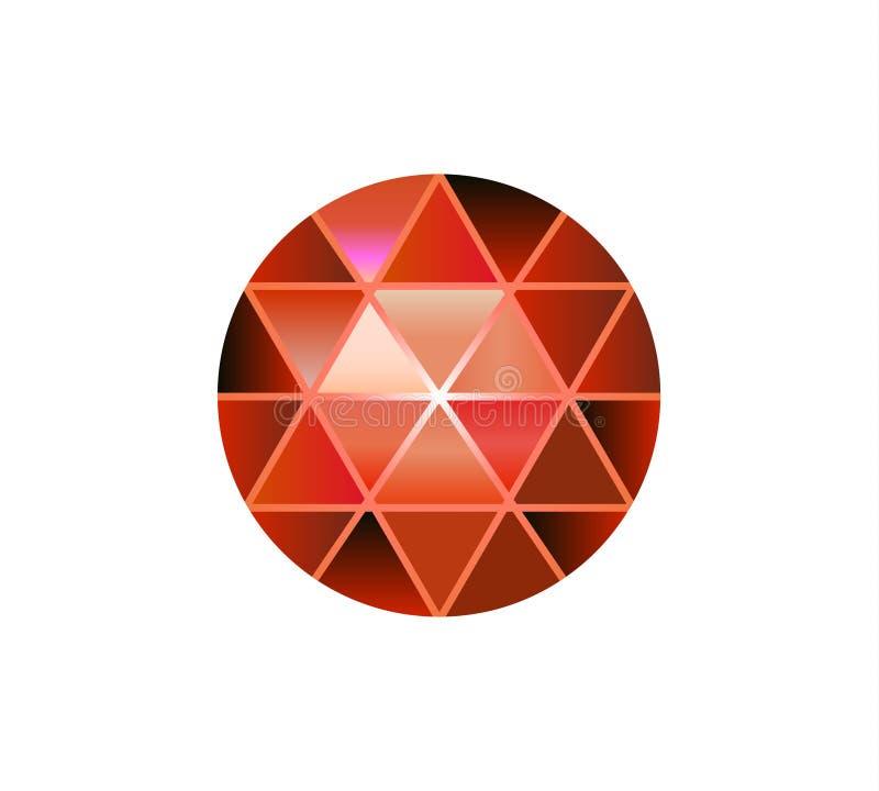 Gemsteen, ronde diamanten op wit Veelhoekige vectorbal Veelkleurige gradiënt royalty-vrije illustratie