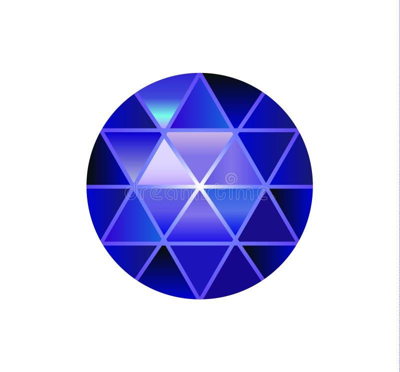 Gemsteen, ronde diamanten op wit Veelhoekige vectorbal Veelkleurige gradiënt Laag polyontwerp vector illustratie