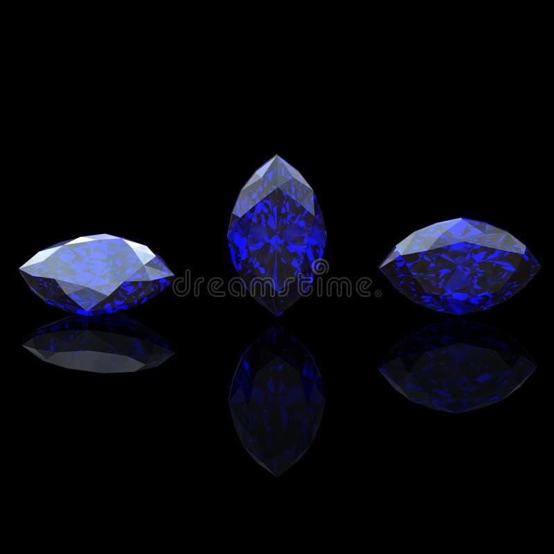Gemstone av markisform. Benitoit. Safir vektor illustrationer