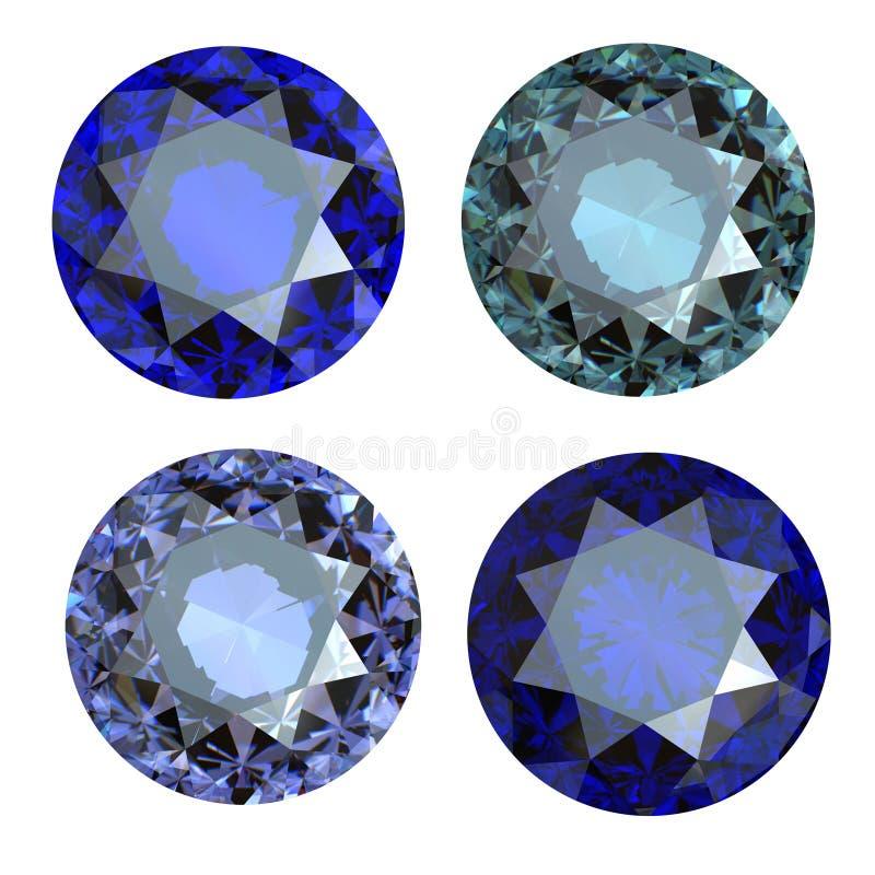 Gemstone azul redondo no fundo branco ilustração stock