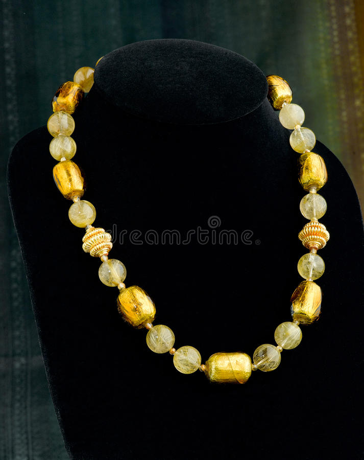 Gemstone beads and gold necklace