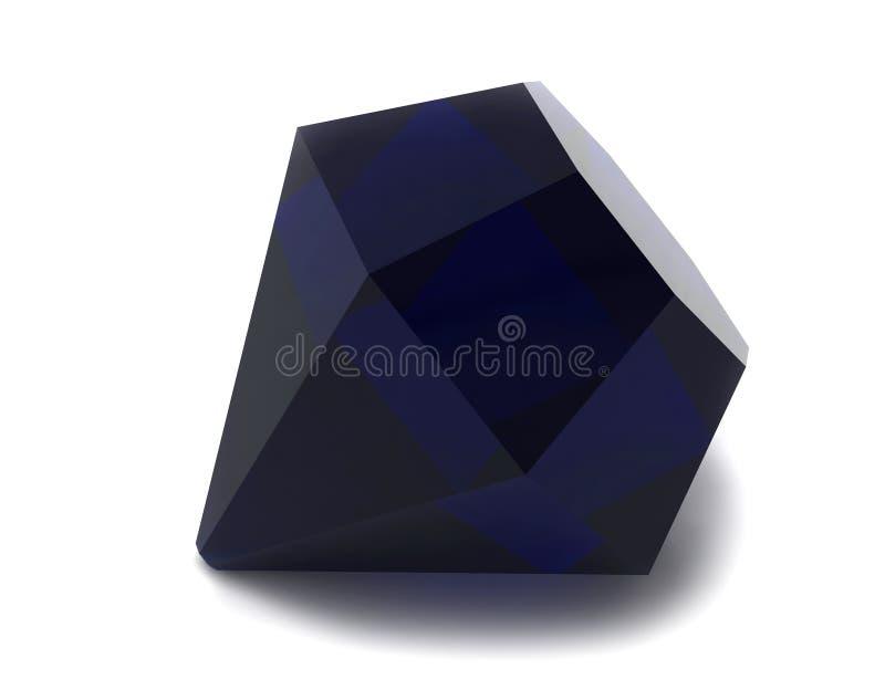 gemstone czarny błękitny szafir ilustracja wektor