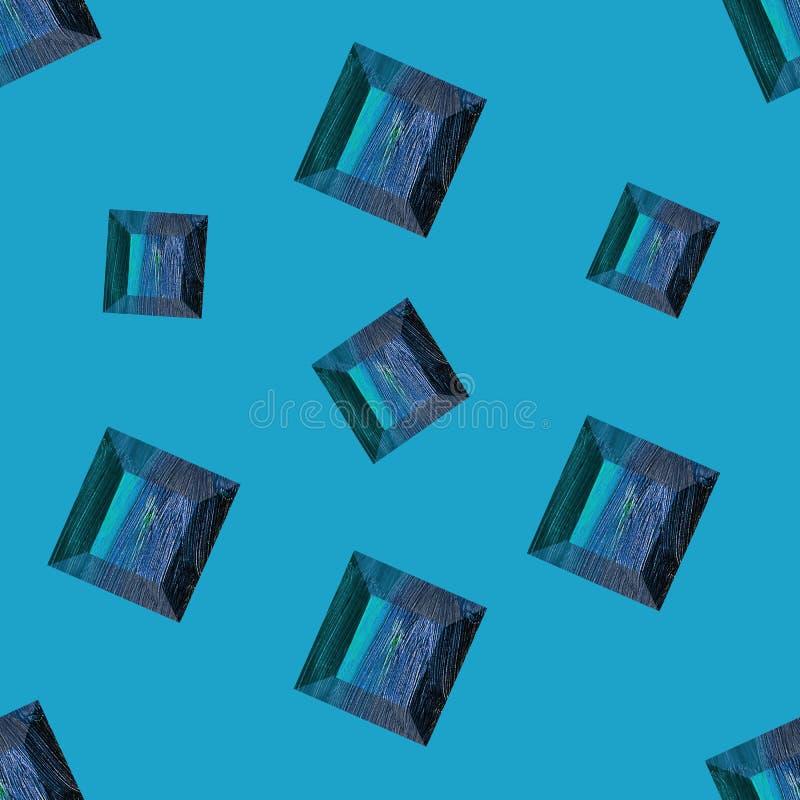 Gemstone di zaffiro, topaz Illustrazione priva di luce Cristallo blu su sfondo blu Piatta di gemma La serie può essere utilizzata illustrazione di stock