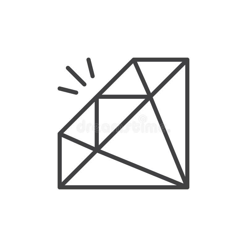 Gemstone, diament kreskowa ikona, konturu wektoru znak, liniowy stylowy piktogram odizolowywający na bielu ilustracja wektor