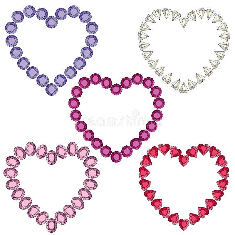 Gemstone heart shaped frames vector illustration