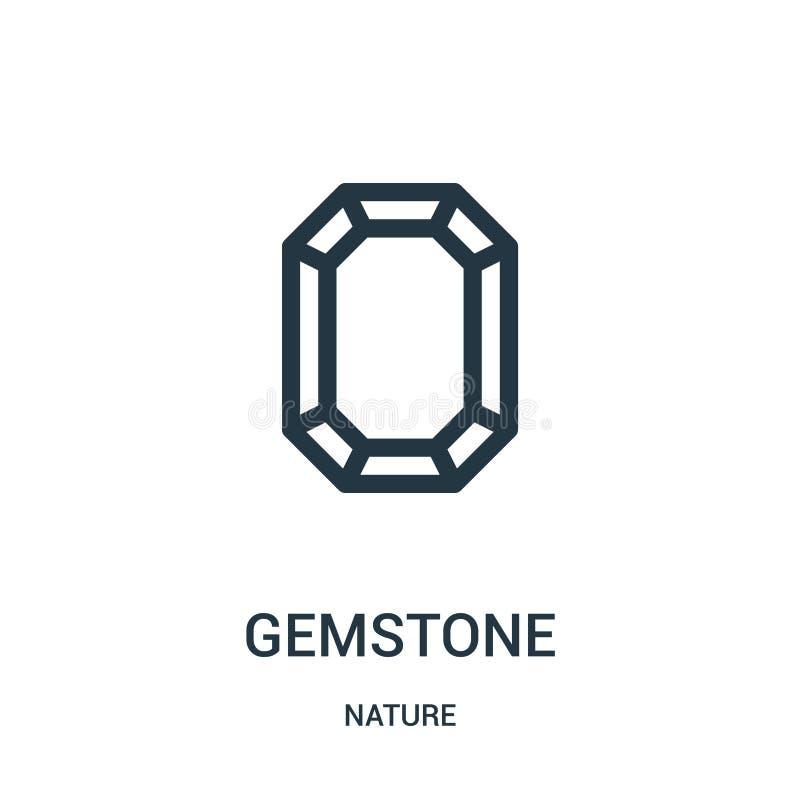 gemstone ikony wektor od natury kolekcji Cienka kreskowa gemstone konturu ikony wektoru ilustracja Liniowy symbol dla używa na si royalty ilustracja