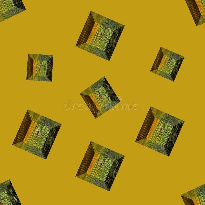Gemstone Illustrazione priva di luce Cristallo giallo pallido su fondo giallo pallido Piatta di gemma La serie può essere utilizz royalty illustrazione gratis