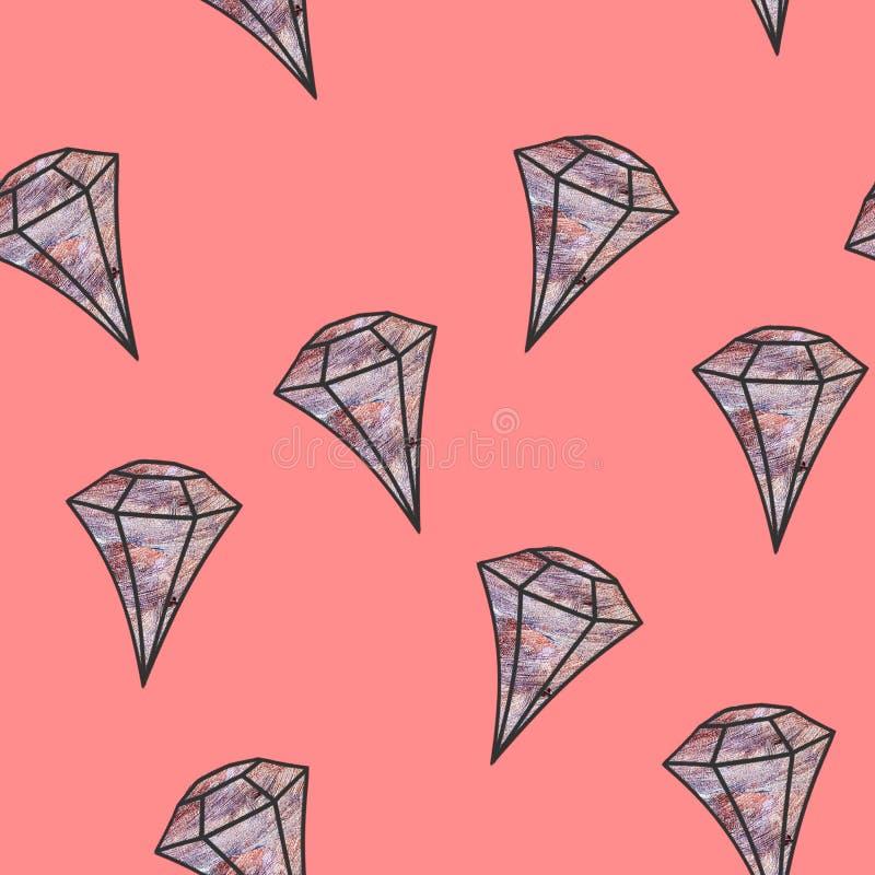 Gemstone Illustrazione priva di luce Cristallo pallido su fondo corallino Piatta di gemma La serie può essere utilizzata come wra royalty illustrazione gratis