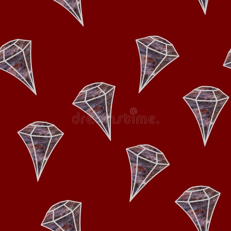 Gemstone Illustrazione priva di luce Cristallo pallido su fondo rosso Piatta di gemma La serie può essere utilizzata come wrappin illustrazione di stock