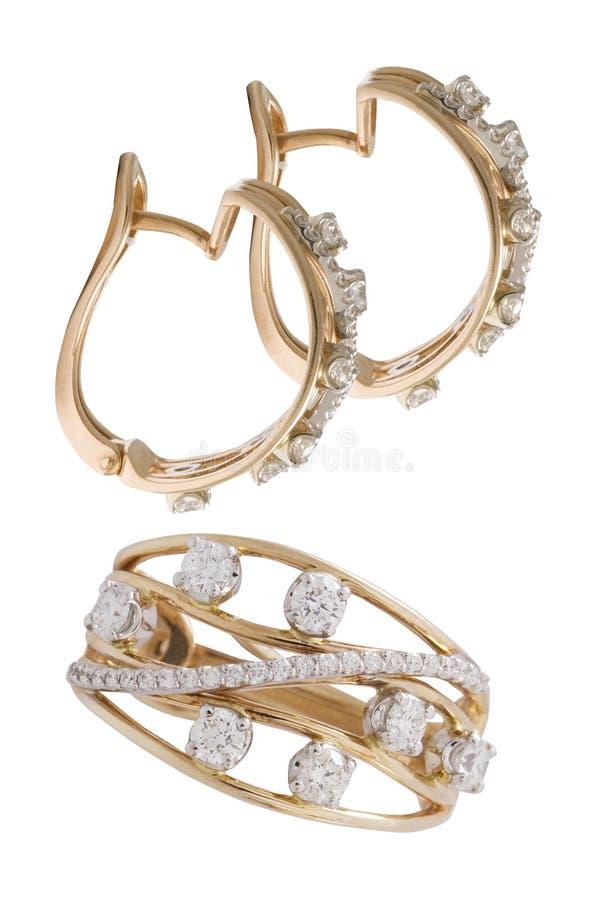 Gemstone pierścionek i kolczyki obraz stock