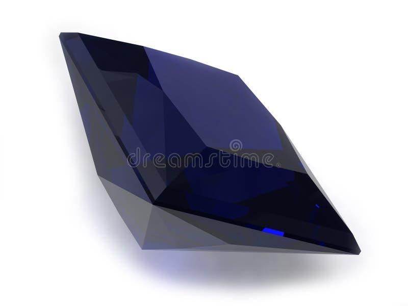 Gemstone preto ou azul da safira ilustração royalty free