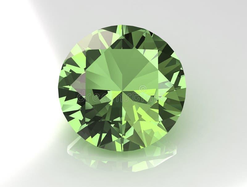 Gemstone verde redondo maciço do Topaz ilustração stock