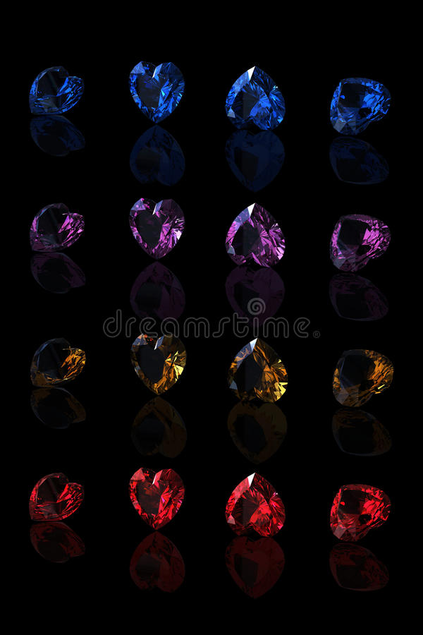 Gemstones Collections Shape Of Heart Stock Photography