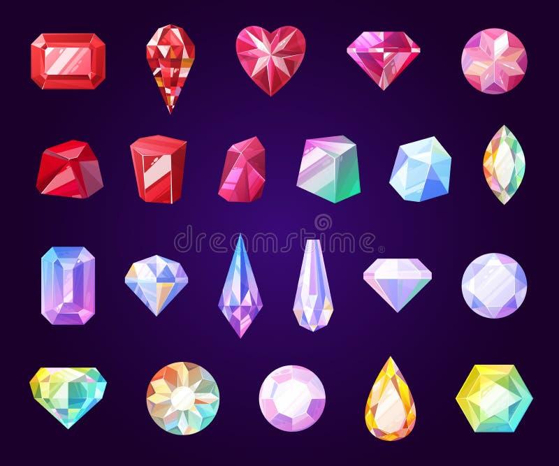 Gemstones, jewel and precious stone icons. Gemstones jewelry icons. Diamond and brilliant, amethyst, quartz, garnet and emerald, aquamarine and sapphire. Ruby stock illustration