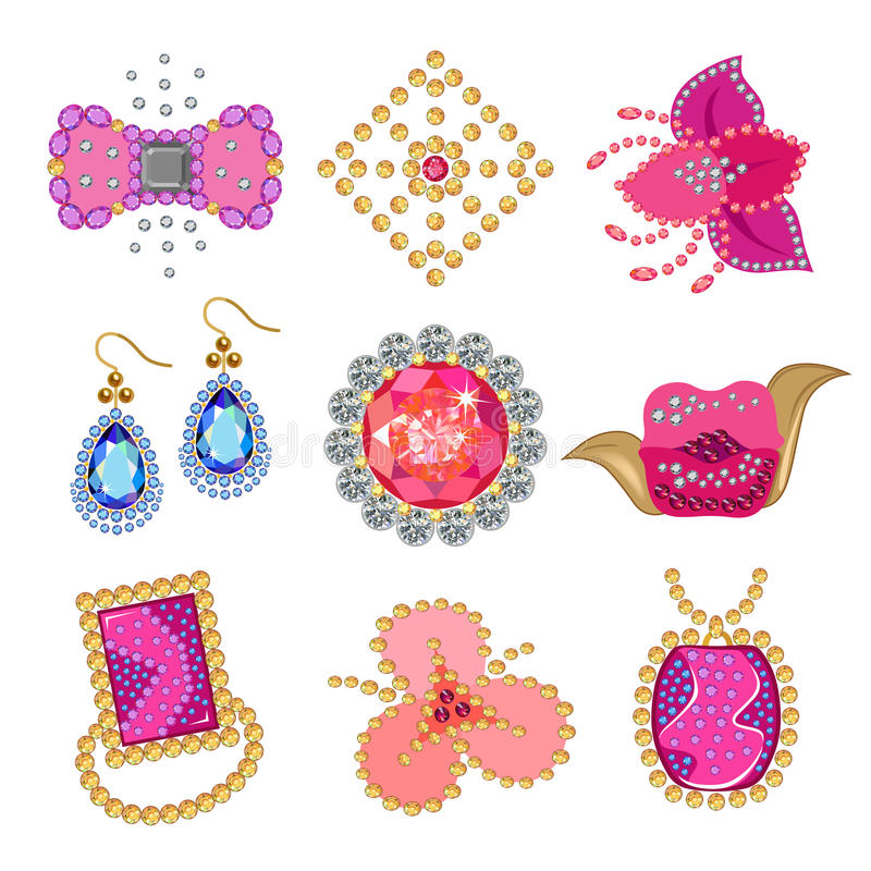 Gemstones jewellery set. Coquette gemstones brooch on white background, vector illustration stock illustration
