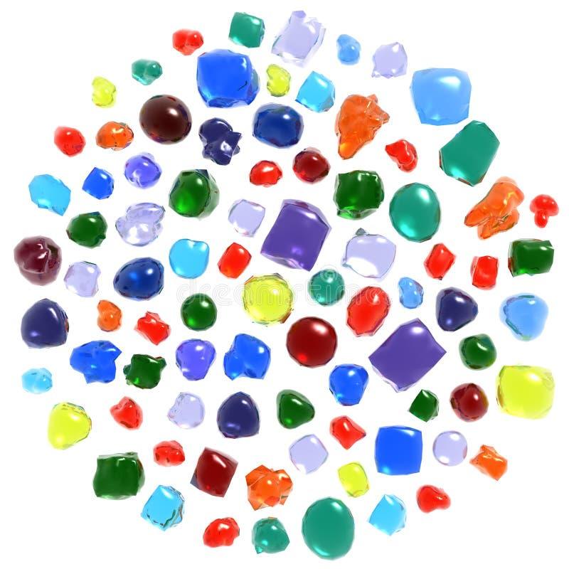 Gemstones set. Colorful gemstones set isolated on white royalty free illustration