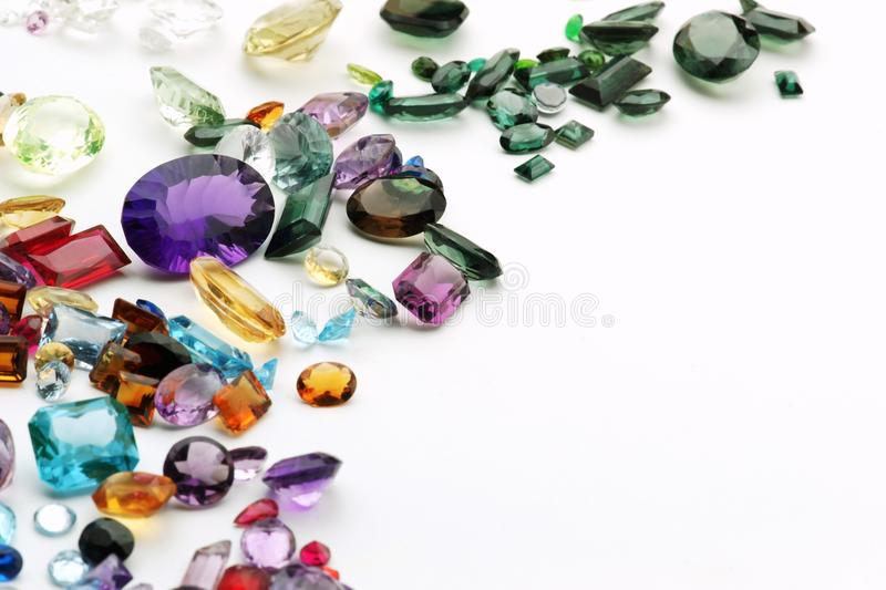 Gemstones on white royalty free stock photography