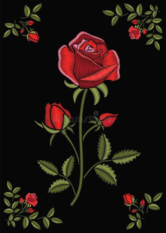 Genähte Blumenverzierung mit Stich stieg Stickereiblume auf einem dunklen Klappenstoffhintergrund Dekorative Näharbeit lizenzfreie abbildung