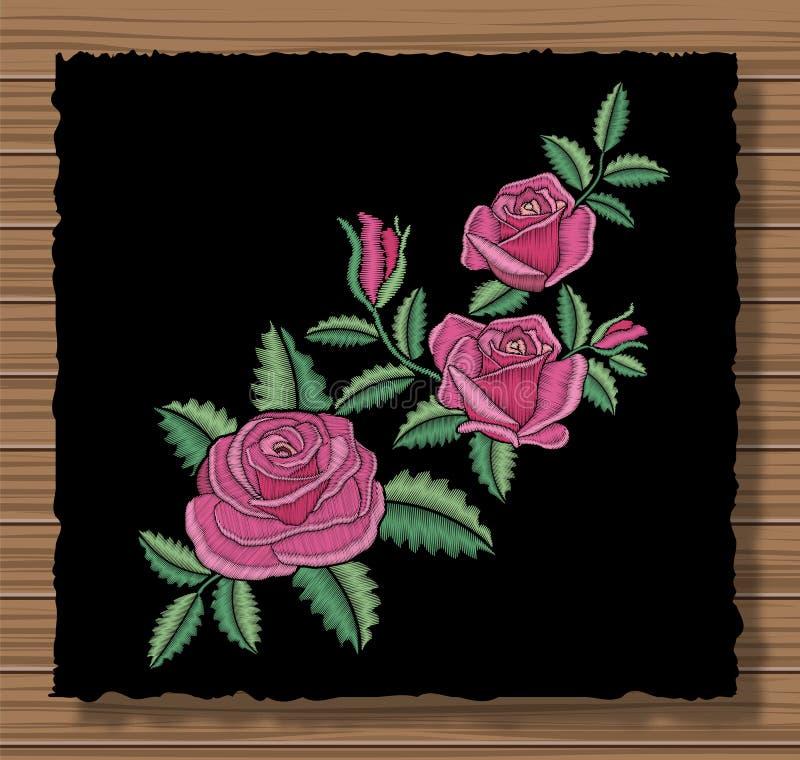 Genähte Blumenverzierung mit Stichblumen und -Zweigen Stickereirosen und -blätter auf einem dunklen Klappenstoff stock abbildung