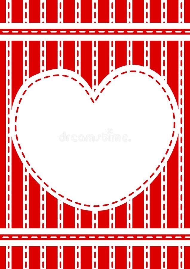Genähter roter Herzgrenzrahmen stock abbildung