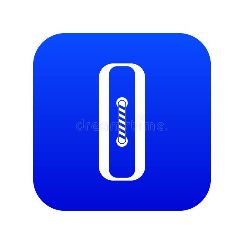 Genähtes digitales Blau der rechteckigen Knopfikone lizenzfreie abbildung