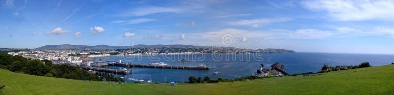 Genähtes Panorama von Douglas auf der Insel des Mannes lizenzfreie stockfotos