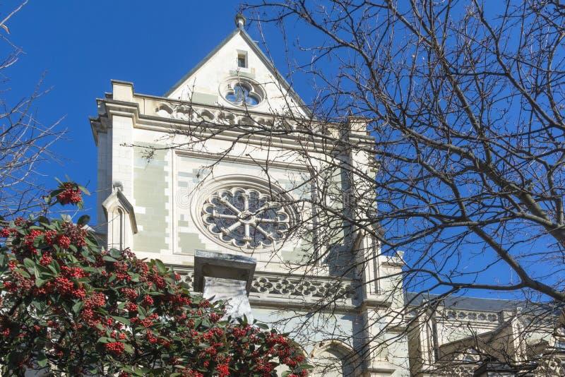 GENÈVE SCHWEIZ, FEBRUARI, 2019: Genève för domkyrka för St Pierre protestant Calvinistic arkivbild