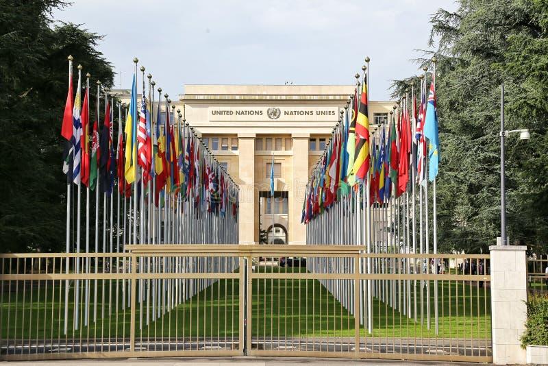 GENÈVE SCHWEIZ - JULI 24, 2016 Förenta Nationernakontor på Genève, Schweiz FN var etablerat i Genève i 1947 & detta fotografering för bildbyråer