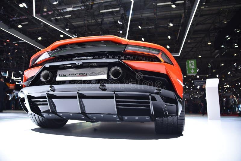 Genève Schweiz - mars 05, 2019: Den Lamborghini Huracan EVO bilen ställde ut på den internationella motorshowen för den 89th Genè royaltyfri bild