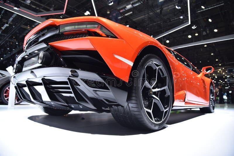 Genève Schweiz - mars 05, 2019: Den Lamborghini Huracan EVO bilen ställde ut på den internationella motorshowen för den 89th Genè arkivfoton