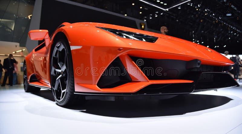 Genève Schweiz - mars 05, 2019: Den Lamborghini Huracan EVO bilen ställde ut på den internationella motorshowen för den 89th Genè royaltyfri fotografi