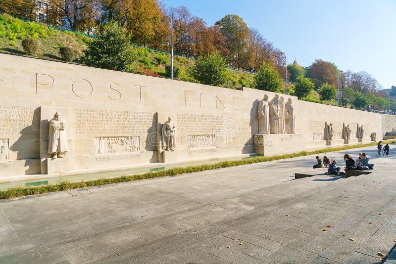Genève Schweiz - Oktober 18, 2017: Den internationella Monumen royaltyfria bilder