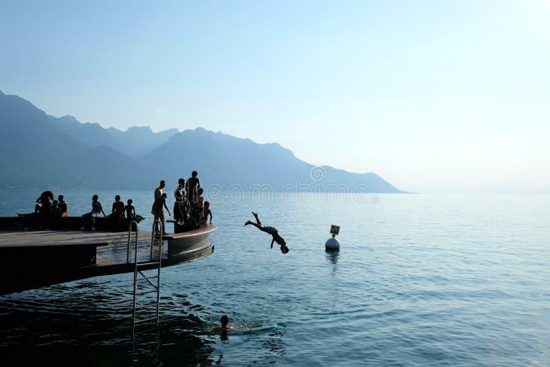 Genève sjö i Montreux, Schweiz royaltyfri foto