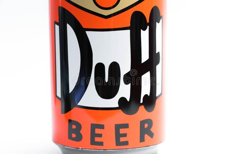 Genève/Suisse 09 09 18 : Fin moche de Simpson de bière de boîte vers le haut de Homer photo libre de droits