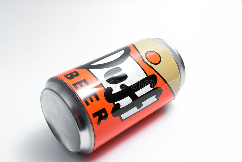 Genève/Suisse 09 09 18 : Fin moche de Simpson de bière de boîte vers le haut de Homer photos libres de droits