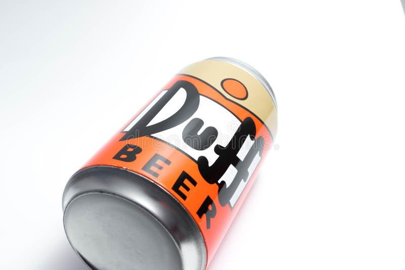 Genève/Suisse 09 09 18 : Fin moche de Simpson de bière de boîte vers le haut de Homer photos stock
