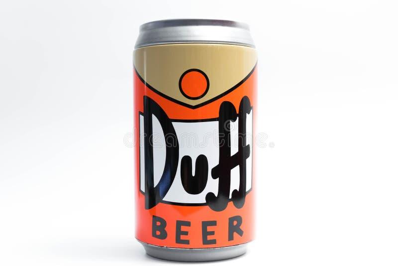 Genève/Suisse 09 09 18 : Fin moche de Simpson de bière de boîte vers le haut de Homer images stock