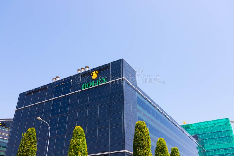 Genève/Switzerland-09 09 19: Дозор Rolex логотипа размещает штаб здание в Швейцарии Женеве стоковое фото