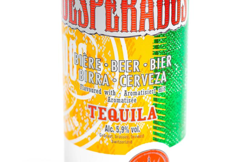 Genève/Switzerland-09 09 18 : Les desperados ont assaisonné la tequila de bière peuvent cerveza photos stock