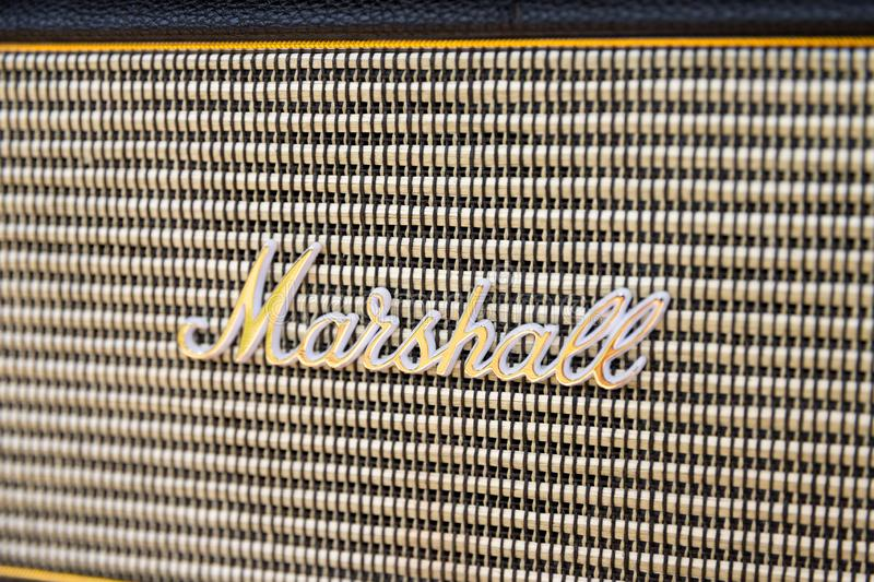 Genève/Switzerland-09.09.19 : Marshall  speaker bass sound portable bluetooth radio royalty free stock image