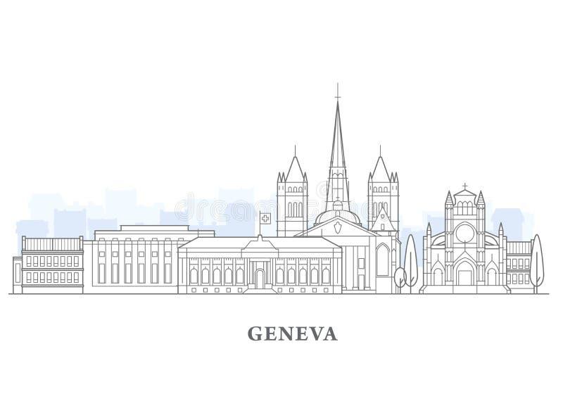 Genèvecityscape, Schweiz - gammal stadsikt, stadspanorama av Genève royaltyfri illustrationer