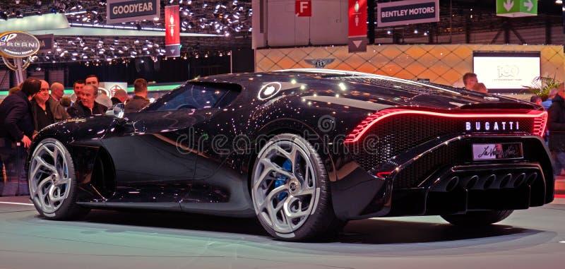 Genèvemotorshow Bugatti 2019 Voiture Noire Concept Car fotografering för bildbyråer