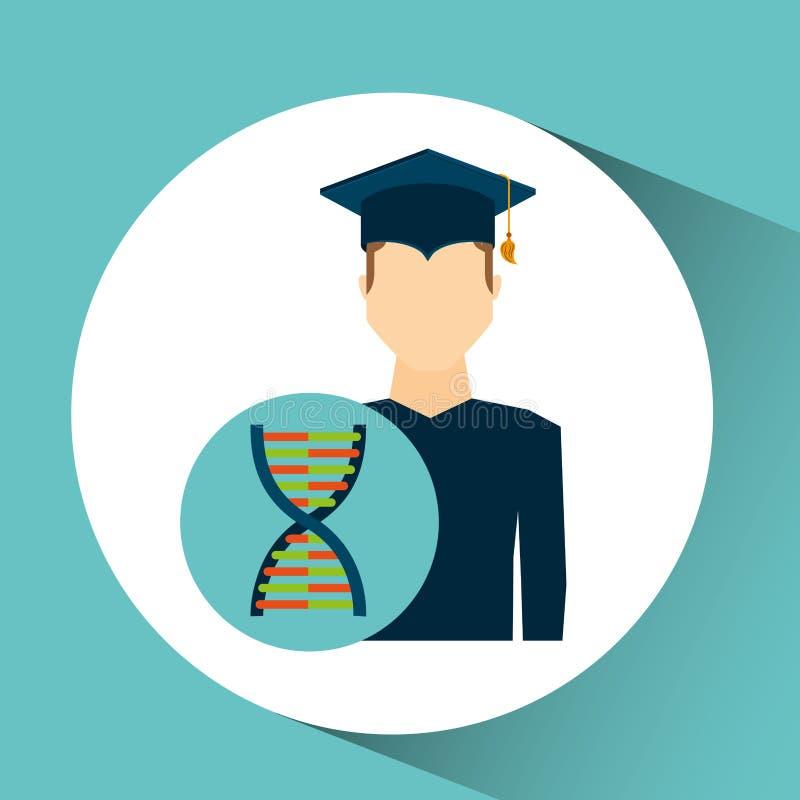 Genética de la DNA del hombre del estudiante de tercer ciclo ilustración del vector