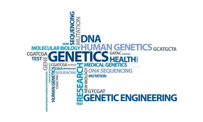 Genética - nube 2 de la palabra stock de ilustración
