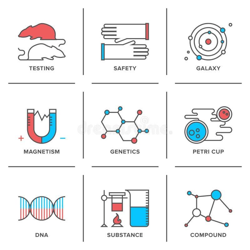 Genética y línea iconos de la prueba de laboratorio fijados libre illustration